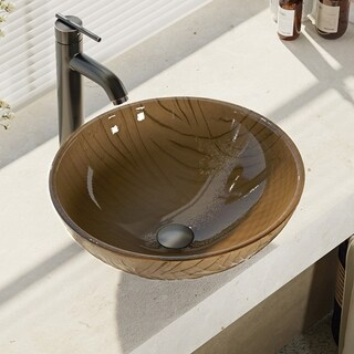 R5-5025-R9-7001 Beach Sand Glass Vessel Bathroom Sink with Faucet, Sink Ring, and Pop-Up Drain (3 options available)
