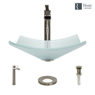 R5-5021-R9-7007 Frosted Glass Vessel Bathroom Sink with Faucet, Sink Ring, and Pop-Up Drain
