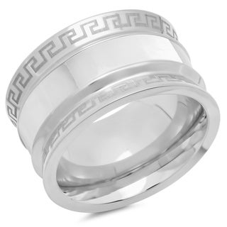 Stainless Steel Mother of Pearl Greek Key Band Ring in 3 colors