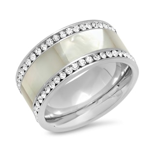 Stainless Steel CZ and Mother of Pearl Ring in 2 colors