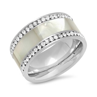 Piatella Ladies Stainless Steel CZ and Mother of Pearl Ring in 2 colors