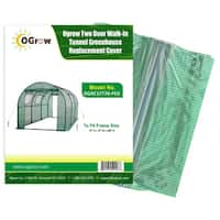 Ogrow 2 Door Walk-In Tunnel Greenhouse Replacement Cover - To Fit Frame Size 15' X 6' X 6' - Green