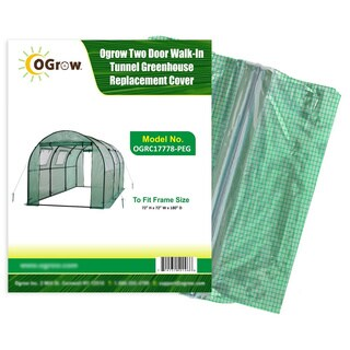 Two-door Walk-in Tunnel Greenhouse Green Replacement Cover Fitting Frame SIze 15' x 6' x 6'