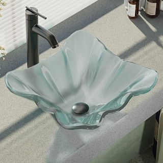 Rene By Elkay R5-5011-R9-7001 Frosted Glass Vessel Sink with Faucet, Sink Ring, and Pop-Up Drain|https://ak1.ostkcdn.com/images/products/16807696/P23111528.jpg?impolicy=medium