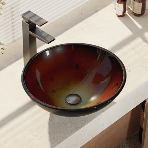 R5-5007-R9-7003 Foil Undertone Glass Vessel Sink with Faucet, Sink Ring, and Pop-Up Dr