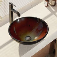 R5-5007-R9-7001 Foil Undertone Glass Vessel Sink with Faucet, Sink Ring, and Pop-Up Dr