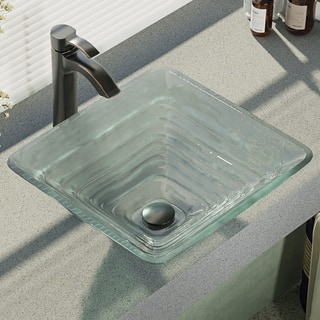 R5-5004-R9-7006 Glass Vessel Sink with Faucet, Sink Ring, and Pop-Up Drain
