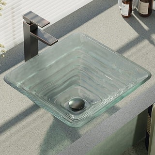 R5-5004-R9-7003 Glass Vessel Sink with Faucet, Sink Ring, and Pop-Up Drain