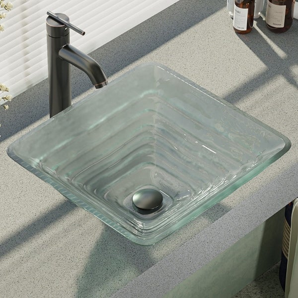 R5-5004-R9-7001 Glass Vessel Sink with Faucet, Sink Ring, and Pop-Up Drain. Opens flyout.
