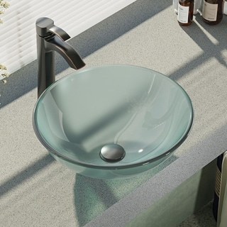 Rene By Elkay R5-5002-R9-7006 Frosted Glass Vessel Sink with Faucet, Sink Ring, and Pop-Up Drain (Option: Nickel Finish)