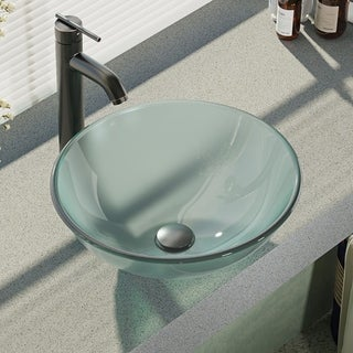 Rene By Elkay R5-5002-R9-7001 Frosted Glass Vessel Sink with Faucet, Sink Ring, and Pop-Up Drain