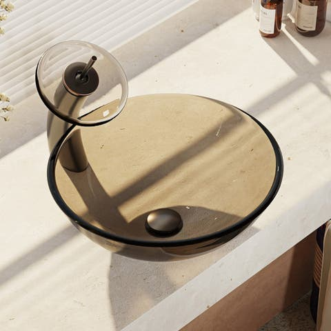 R5-5001-CAS-WF Cashmere Colored Glass Vessel Sink with Waterfall Faucet, Sink Ring, and Pop-Up Drain