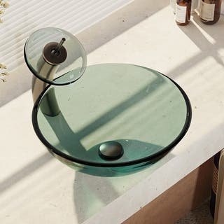 R5-5001-IVY-WF Ivy Colored Glass Vessel Sink with Waterfall Faucet, Sink Ring, and Pop-Up Drain