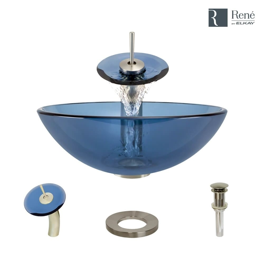 R5-5001-CEL-WF Celeste Colored Glass Vessel Sink with Waterfall ...