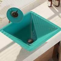 R5-5003-CER-WF Cerulean Colored Glass Vessel Sink with Waterfall Faucet, Sink Ring, and Pop-Up Drain