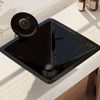 R5-5003-NOR-WF Noir Dark Colored Glass Vessel Sink with Waterfall Faucet, Sink Ring, and Pop-Up Drain