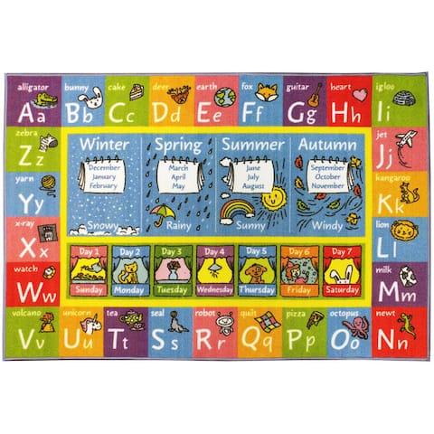 KC CUBS ABC, Seasons, Months, Days Multicolored Polypropylene Educational Area Rug