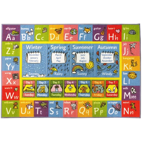 KC CUBS ABC, Seasons, Months, Days Multicolored Polypropylene Educational Area Rug