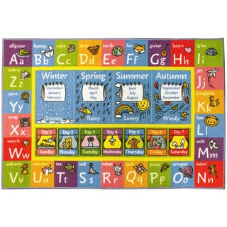 KC CUBS ABC, Seasons, Months, Days Multicolored Polypropylene Educational Area Rug - 5' 0 x 6' 6
