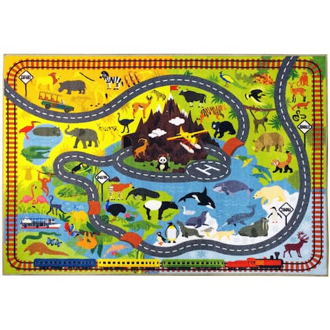 KC CUBS Animal Safari Road Map Blue Educational Area Rug