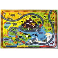 KC CUBS Animal Safari Road Map Blue Educational Area Rug (8'2 x 9'10)