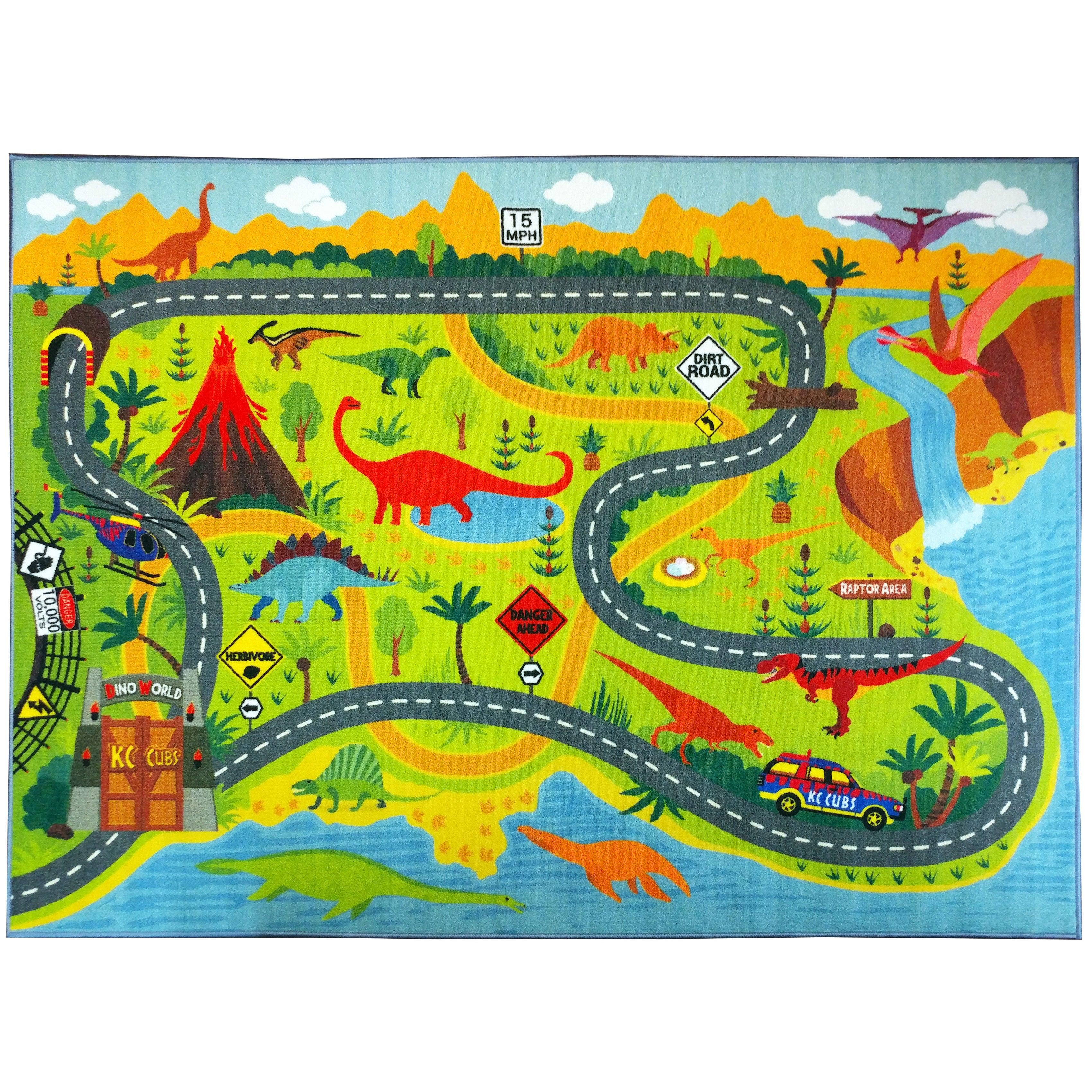 KC Cubs Dinosaur Safari Road Map Multicolor Educational A...