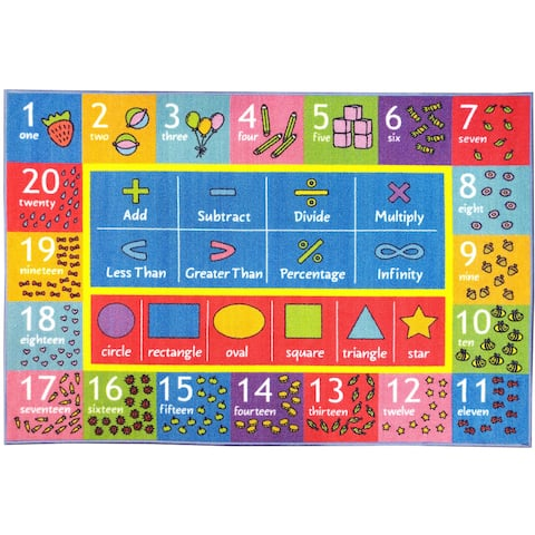 KC Cubs Math Symbols, Numbers, and Shapes Multicolor Educational Area Rug