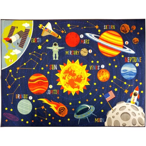 "KC CUBS Outer Space Safari Road Map Educational Area Rug - 8' 2"" x 9' 10"""