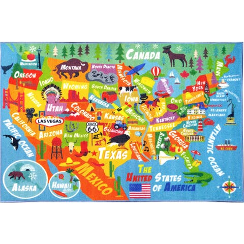 KC Cubs USA Geography Map Educational Area Rug