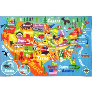 KC Cubs USA Geography Map Educational Area Rug (5' 0 x 6' 6)
