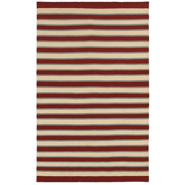 Rizzy Home Swing Red Wool Handmade Flatweave Striped Area Rug - 8' x 10'