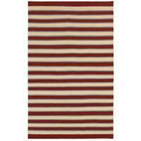 Rizzy Home Swing Red Wool Handmade Flatweave Striped Area Rug - 8' x 10'