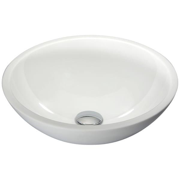 Anzzi Egret Series White Glass Vessel Sink