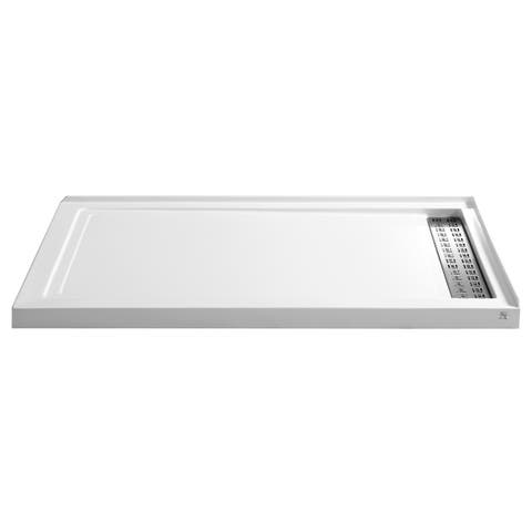 Anzzi Field Series White Acrylic Double Threshold Shower Base