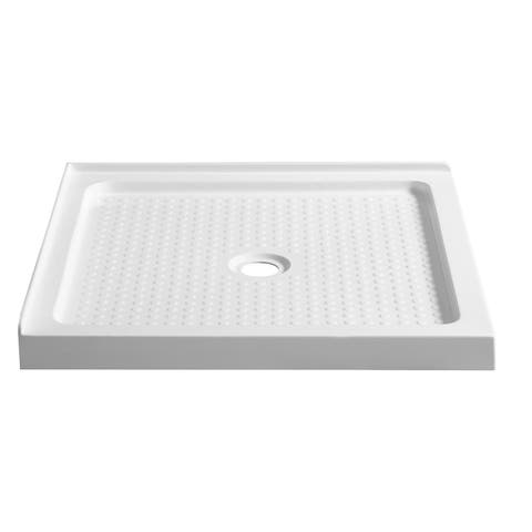 ANZZI Valley Series 38 in. x 38 in. Double Threshold Shower Base in White