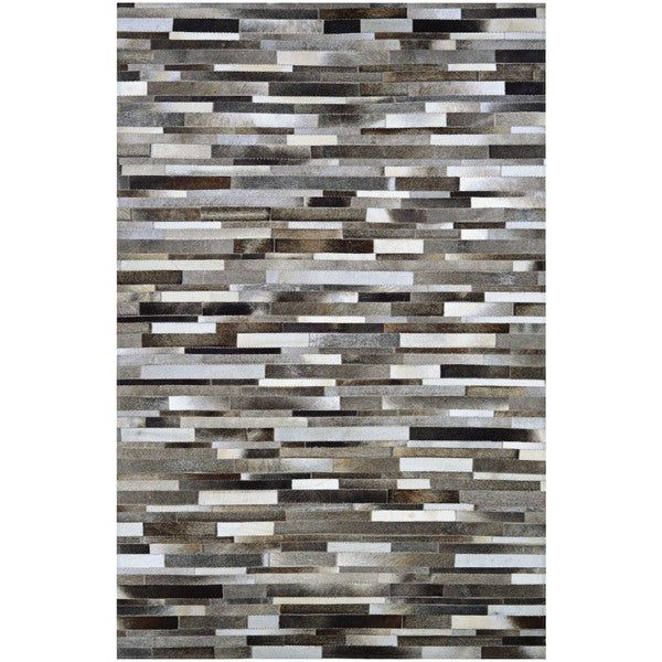 """Hand-Crafted Couristan Chalet Tether Naturals Cowhide Leather Area Rug - 9'4"""" x 13'4"""""""