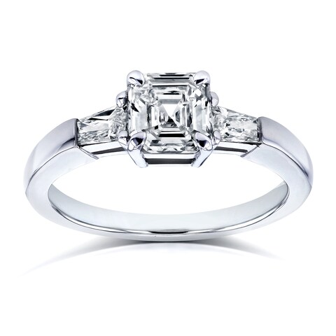 Annello by Kobelli Certified Platinum 1 1/3ct TDW Asscher and Tapillion 3 Stone Diamond Ring (H, SI2)
