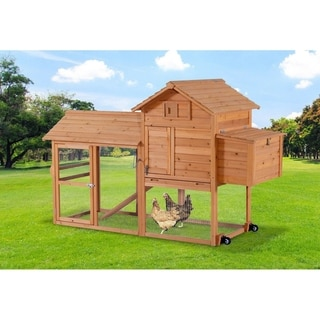 Lovupet Chicken Rabbit Poultry Coop House Cage Retractable Wheel