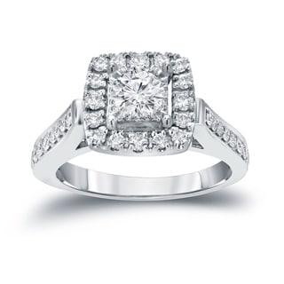 Auriya 14k Gold 7/8ct TDW Round Diamond Halo Engagement Ring