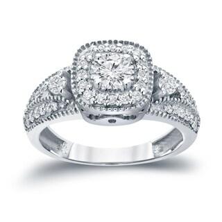 Auriya 14k Gold 3/5ct TDW Vintage-Inspired Diamond Halo Engagement Ring