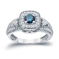 Auriya 14k Gold 3/5ct TDW Vintage-Inspired Blue Diamond Halo Engagement Ring