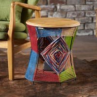 Basel Mango Wood Round End Table by Christopher Knight Home