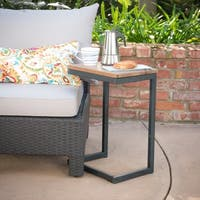 Bayrain Outdoor Medium Firwood Antique Accent Table by Christopher Knight Home