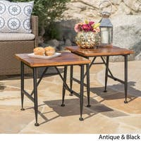 Eleanora Outdoor Acacia Wood End Table (Set of 2) by Christopher Knight Home