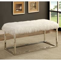 Furniture of America Shika Contemporary Chrome Fur-like Upholstered Large 40-inch Bench