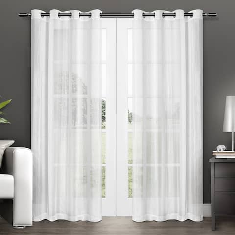"""ATI Home Penny Grommet Top Sheer Curtain Panel Pair 84"""" in Penny White (As Is Item)"""