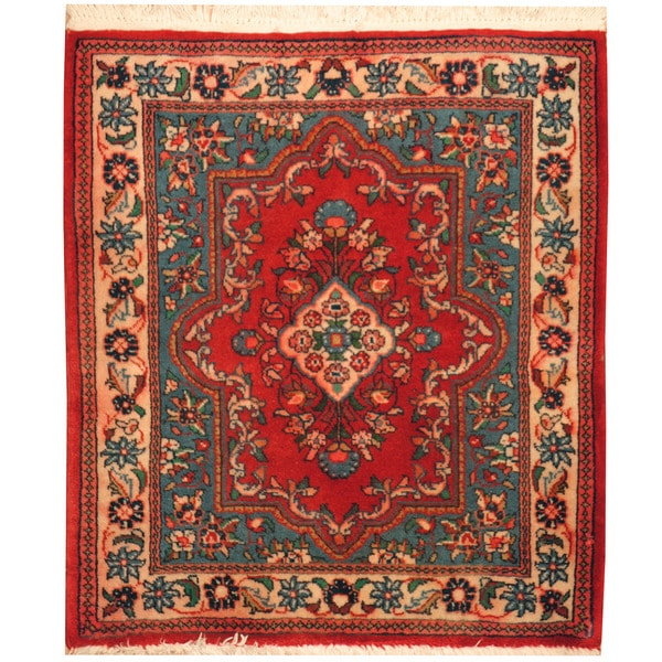 Herat Oriental Hand-knotted Kashan Wool Area Rug (2'2 x 2'6)