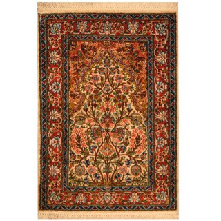 Handmade Herat Oriental Kashan Wool Area Rug (Iran) - 2'1 x 3'