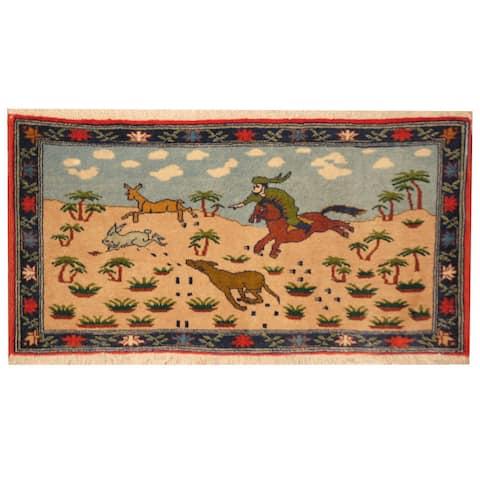 Handmade One-of-a-Kind Kashan Wool Rug (Iran) - 1'7 x 3'2