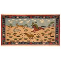 Handmade Herat Oriental Kashan Wool Area Rug (Iran) - 1'7 x 3'2